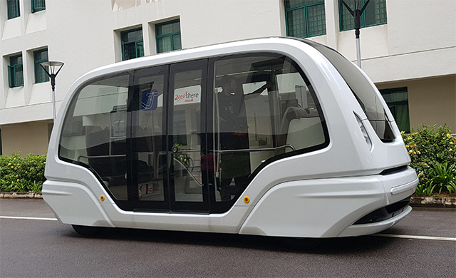 The Ground Rapid Transport (GRT) was tested by NTU and SMRT on a route between Hall 12 and Hall 14. Its launch has been delayed indefinitely. (PHOTO: SMRT)