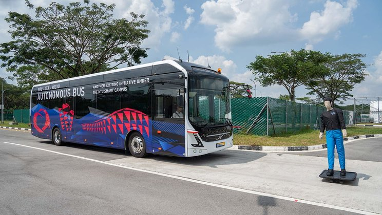 NTU has collaborated with four driverless bus projects, providing a testing ground for their buses. Volvo (as pictured) is one of the manufacturers working with NTU. (PHOTO: Volvo)