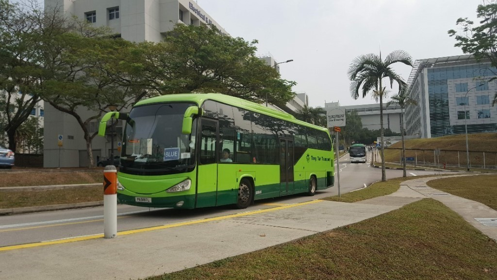 Campus Blue Riders bunched up during the morning peak period. (PHOTO: Yong Jun Yuan)